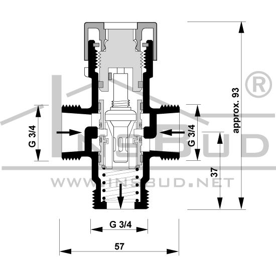 IB-VM 2 - zawór trójdrogowy mieszający c.w.u.
